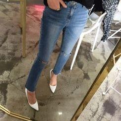DISCOSALON - Distressed Straight-Cut Jeans