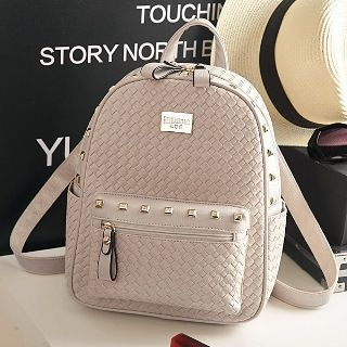 BeiBaoBao - Faux-Leather Woven Studded Backpack
