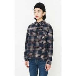 Someday, if - Pocket-Front Plaid Cotton Shirt