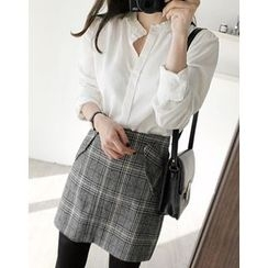 UPTOWNHOLIC - Frilled-Collar Cotton Blouse