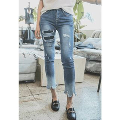 REDOPIN - Distressed Cropped Jeans