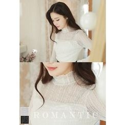 MyFiona - Mock-Neck Frill-Sleeve Lace Top
