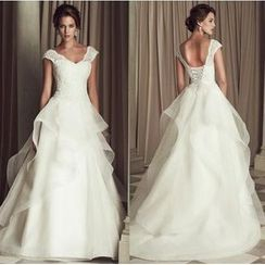 Beautiful Wedding - Cap-Sleeve V-Neck Lace Wedding Ball Gown