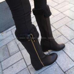 midnightCOCO Fleeced-Line Zip-Side Long Boots