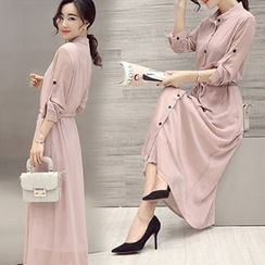 Lavogo - Long-Sleeve Chiffon Maxi Dress
