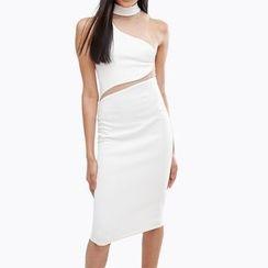 Obel - Mesh Panel Sleeveless Dress