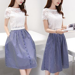 Ashlee - Set: Short Sleeve Organza Top + Striped A-line Skirt