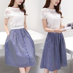 Ashlee - 套裝: 短袖歐根紗上衣 + 條紋A字裙