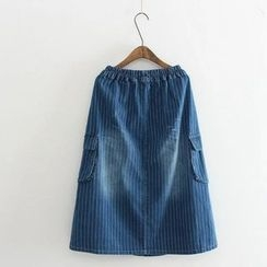 Aigan - Washed Striped Denim A-Line Skirt