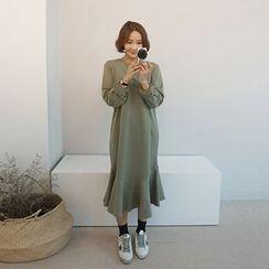 STYLEBYYAM - Ruffle-Hem Pullover Dress