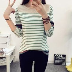 Angel Shine - Patterned Panel Striped Long Sleeve T-Shirt