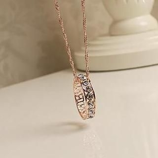 Love Generation - Rhinestone Perforated Ring Double Strand Neckalce