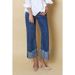 migunstyle - Cuff-Hem Wide-Leg Jeans