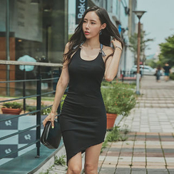 UUZONE - Contrast-Strap Back Bodycon Dress