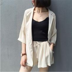 Chililala - 套裝: 純色七分袖大衣 + 抽繩短褲
