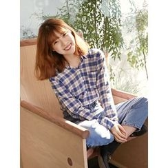 FROMBEGINNING - Pocket-Front Plaid Cotton Shirt