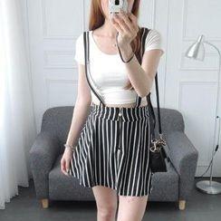 CYNTHIA - Printed Suspender Skirt