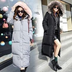AiSun - Faux Fur Trim Padded Coat