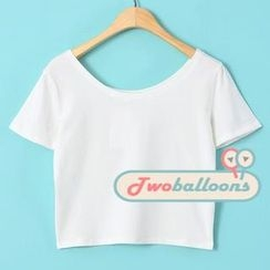 JVL - Short-Sleeve Scoop-Neck Cropped T-Shirt