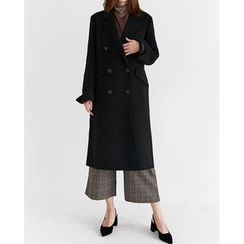 Someday, if - Double-Breasted Wool Blend Handmade Long Coat