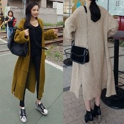 Seoul Fashion - Dual-Pocket Open-Front Long Cardigan