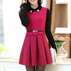 Ekim - Dotted Panel Collared Pleated Dress with Brooch