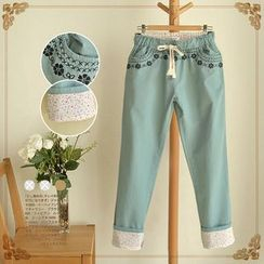 Waypoints - Flower Embroidered Drawstring Pants