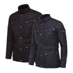 Seoul Homme - Quilted Snap-Button Jacket with Belt