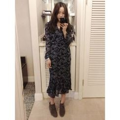 maybe-baby - Wrap-Front Floral Print Long Dress