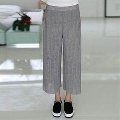 CHICFOX - Band-Waist Wide-Leg Pleated Pants