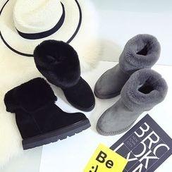 Laceuplux - Hidden Wedge Fleece Short Boots