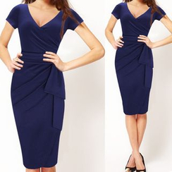 Forest Of Darama - Short-Sleeve V-Neck Sheath Dress