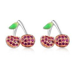 MBLife.com - Left Right Accessory - 925 Sterling Silver CZ Cherry Fruit Stud Earrings, Women Girl Fashion Jewelry