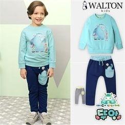 WALTON kids - Kids Set: Printed Pullover + Contrast-Trim Harem Pants