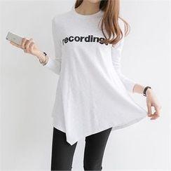PEPER - Asymmetric-Hem Lettering T-Shirt