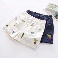布丁坊 - 植物刺绣短裤