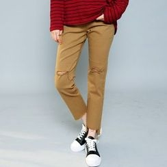 Envy Look - Cutout-Hem Straight-Cut Pants