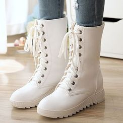Pastel Pairs - Hidden Wedge Lace Up Boots