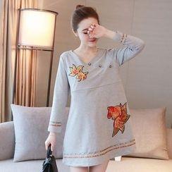 Ohayo - Maternity Goldfish Applique Long-Sleeve Nursing Dress