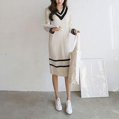 Hello sweety - Contrast-Trim Rib-Knit Dress