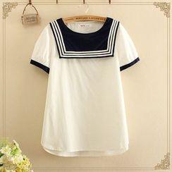 Softies - Short-Sleeve Sailor Collar Blouse