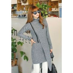 REDOPIN - Turtle-Neck Diagonal-Zip Dress