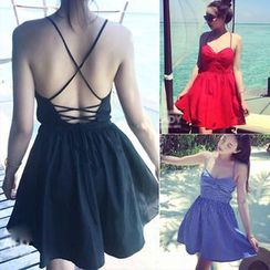 Clair Fashion - Open Back Halter Dress