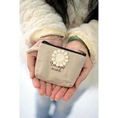 Bags 'n Sacks - Floral-Crochet Canvas Coin Purse