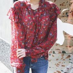 mimi&didi - Floral Pattern Chiffon Top