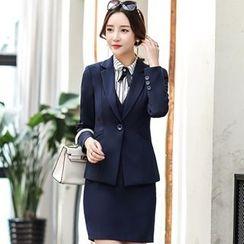 Romantica - Single-Button Blazer / Long-Sleeve Striped Blouse / Sleeveless Buttoned Dress