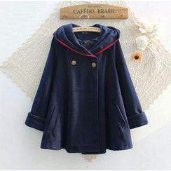 Blue Rose - Fleece-lined Hooded Cape Jacket