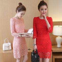 Kotoba - Long-Sleeve Lace Sheath Dress