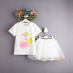 Kidora - 儿童套装: 印花短袖T裇 + 薄纱裙子