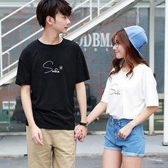 Azure - Couple Matching Embroidered Short-Sleeve T-Shirt